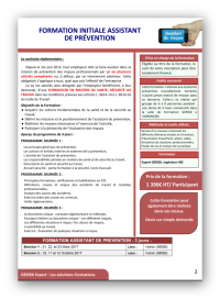 Formation initiale assistant prevention 2017