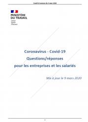 Coronavirus Entreprises et salariés 09 03 2020